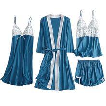 Пижамы из сатина и кружева для женщин, 4 шт., сексуальная ночная рубашка, шорты с бантом, ночная рубашка, пижамы, комплект нижнего белья, плать...(Китай)