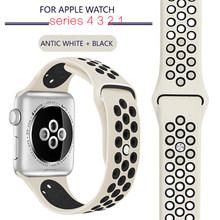 Ремешок для часов Apple Watch, 38 мм, 40 мм, силиконовый браслет, 42 мм, 44 мм, каучуковый ремешок iwatch series 4, 3, 2(Китай)