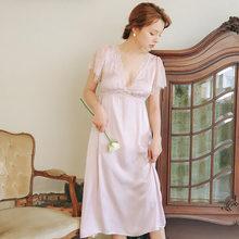 Летняя одежда для сна 2020, винтажная фиолетовая кружевная ночная рубашка размера плюс, Женская домашняя одежда, ночное платье для свадьбы, но...(Китай)