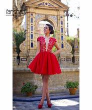 Красные платья с глубоким v-образным вырезом и рукавом-крылышком элегантные платья для выпускного вечера Аппликация Короткое мини с открыт...(Китай)