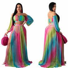 Женская одежда из двух частей, укороченный топ и юбка с разрезом, сексуальные сетчатые наборы с открытыми плечами радужного цвета, Повседне...(Китай)