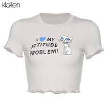 Kalien летняя хлопковая футболка с коротким рукавом женская Повседневная Уличная футболка с принтами букв и милой собачкой(China)