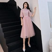 Женское платье для выпускного вечера It's Yiiya, элегантное платье с воротником-стойкой и рукавом до локтя размера плюс, вечерние платья LF153(Китай)