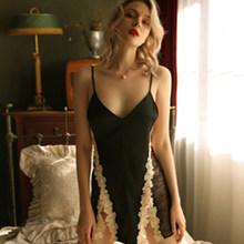 Летняя Сексуальная Пижама женская кружевная шелковая ночная рубашка с v-образным вырезом, женское белье, элегантная сексуальная пижама, соб...(Китай)