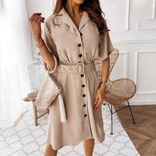 Элегантное офисное женское платье-блейзер с высокой талией и пуговицами, платье с коротким рукавом, Женская рабочая одежда 2020, однотонные п...(Китай)