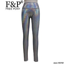 Женские радужные голографические расклешенные брюки леггинсы Rave Festival одежда наряды винтажные штаны с высокой талией леггинсы(Китай)