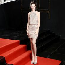 Женские платья для выпускного на бретелях It's Yiiya, золотистые мини-платья с блестками, вечерние платья без рукавов на молнии, DX239(Китай)