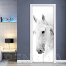 Самоклеющиеся дверные наклейки обои животное лошадь Diy печать Настенная картина с пейзажем домашний декор Фреска гардероб переводная бума...(Китай)