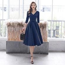 Vestido De Fiesta It's Yiiya BR309 серебристо-серые блестящие длинные элегантные платья для выпускного вечера с v-образным вырезом и рукавом три четверти, ...(Китай)