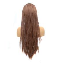 Харизма плетеные парики для женщин термостойкие волосы синтетический парик на кружеве с детскими волосами Омбре синий парик коробка косич...(Китай)