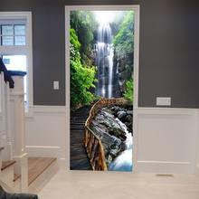 3D наклейки на дверь, милый кот, отражение, тигр, плакат, наклейка на стену, дверь, настенное искусство, дверь в спальню, водонепроницаемая ПВХ ...(Китай)