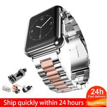 Ремешок из нержавеющей стали для Apple Watch Band 5 4 3 40 мм 44 мм ремешок 38 мм 42 мм Браслет спортивный ремешок для iWatch 5 4(Китай)