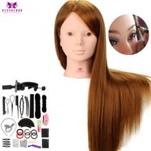 """24 """"60% настоящие человеческие волосы голова манекена для макияжа практика с подставкой расчески набор светлые волосы Обучение головы манеке...(Китай)"""
