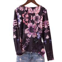 Женская футболка с принтом тюльпана, модная футболка с круглым вырезом и длинным рукавом, базовая тонкая футболка для женщин 4XL 5XL 2020 весна и ...(China)