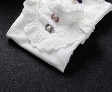 2019 г., осенне-зимняя белая блузка для девочек школьные топы для маленьких девочек, хлопковая кружевная рубашка с длинными рукавами детская о...(Китай)