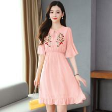 2020 элегантное модное однотонное шифоновое сексуальное мини-платье с вышивкой, летнее винтажное подиумное платье большого размера, женские ...(Китай)
