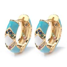 Женские маленькие серьги-кольца Huggie, круглые фианит с разноцветной эмалью, модные радужные серьги, Подарочные циркониевые украшения(Китай)