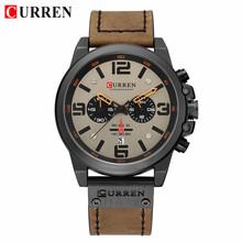 CURREN Мужские часы Топ бренд класса люкс водонепроницаемые 24 часа дата Кварцевые часы мужские кожаные спортивные наручные часы мужские водон...(Китай)