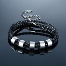 Vnox Бесплатная Персонализация фамилия браслеты для мужчин слоистая кожа с бусинами Шарм браслет Пара юбилей подарок папе сыну(Китай)