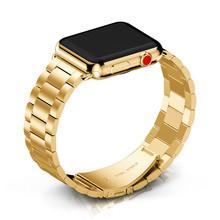 Металлический браслет из нержавеющей стали для Apple Watch, 44 мм, ремешок iWatch серии 5 4 3 2 40 мм, браслет 42 мм 38 мм, замена(Китай)