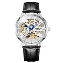 Guanqin, деловые автоматические часы, мужские механические часы со скелетом, Мужские t часы, Роскошные, Лидирующий бренд, водонепроницаемые час...(Китай)