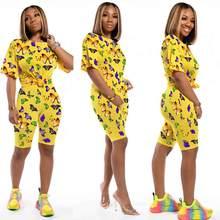 Весна 2020, Женский комплект из двух предметов с принтом бабочки, укороченный топ + штаны с круглым вырезом, спортивная одежда, 4 цвета, праздни...(Китай)