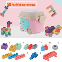 Мягкие строительные блоки для малышей, мягкие Прорезыватели для зубов, блоки, игрушка с коробкой для хранения, большой размер, Сборные Резин...(Китай)