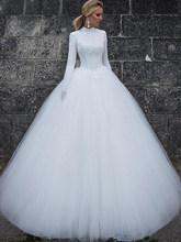 Элегантное мусульманское свадебное платье с длинными рукавами, Белое Бальное Платье в Дубае, арабское свадебное платье Vestido De Noiva 2020(Китай)