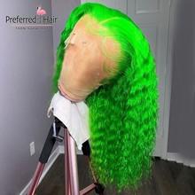 Предпочтительный кудрявый парик из человеческих волос оранжевый детский синий светло-зеленый 180 плотность кружевной передний парик бразил...(Китай)