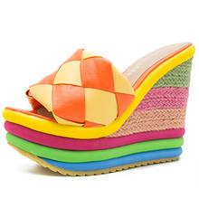 DORATASIA/Модные слипоны на платформе для девочек; Шлепанцы на танкетке; Летние дизайнерские шлепанцы; Женская цветная уличная обувь на высоком ...(Китай)