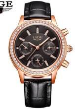 LIGE новые высококачественные женские часы роскошные розовые золотые черные водонепроницаемые часы из нержавеющей стали женские классическ...(China)