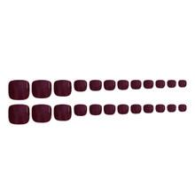 24 шт 12 размеров короткие полные накладные ногти для пальцев на ногах конфеты красочные нажмите на Toenail искусственные ногти искусство советы(Китай)