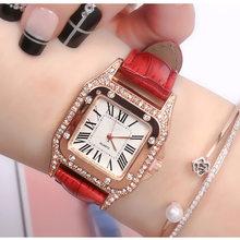 Женские часы красивые нежные квадратные часы Роскошные модные женские часы подарок бриллиантовые римские цифры Циферблат часы(Китай)