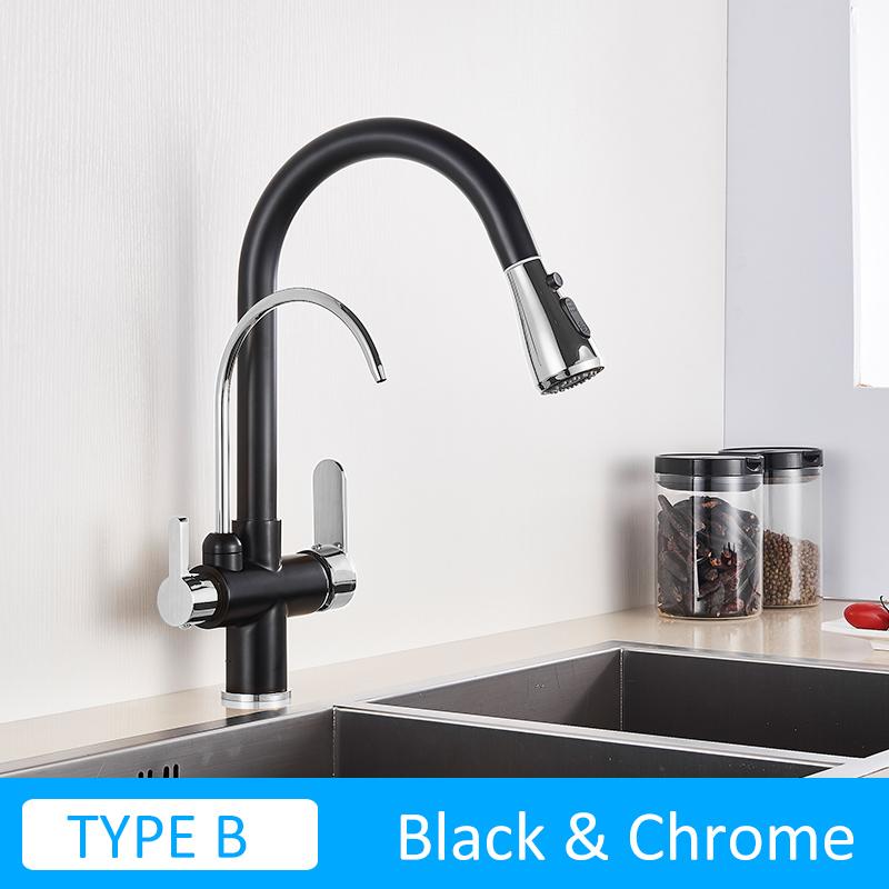Quyanre черный кухонный кран фильтрованный водный кран для кухни вытяжная пружина 360 Вращение кухонный смеситель кран Три способа смеситель(Китай)