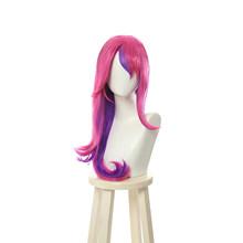 ROLECOS LOL Star Guardian Xayah парик косплей головной убор Rebel парики Длинные розовые фиолетовые волосы уши термостойкие синтетические волосы(Китай)