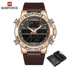 NAVIFORCE мужские часы 2019 Мужские Аналоговые кожаные спортивные часы мужские армейские военные часы Мужские кварцевые часы с датой(Китай)