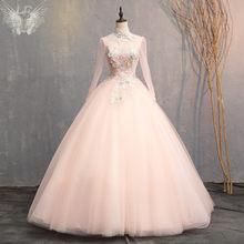 It's YiiYa свадебное платье с высоким воротником и длинным рукавом, свадебные платья размера плюс, свадебные бальные платья с бисером, CH131(China)
