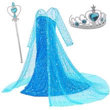 Платья Эльзы для девочек; Вечерние костюмы принцессы Эльзы для костюмированной вечеринки; Vestidos; Комплект аксессуаров с волшебной палочкой; ...(China)