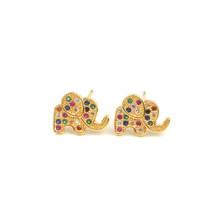 Seashells маленькие CZ серьги «Радуга» pendientes arcoiris крошечные милые золотые украшения для ушей для женщин Циркон 24k золотые серьги aretes oro(Китай)