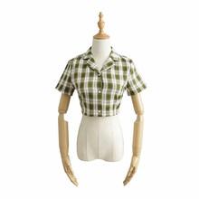 Летняя женская рубашка в клетку с коротким рукавом, черный однобортный женский укороченный топ 2020, уличная Корейская винтажная женская руб...(Китай)