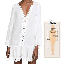 Сексуальное платье средней длины в стиле бохо с длинным рукавом и глубоким v-образным вырезом, белое хлопковое свободное летнее пляжное пла...(Китай)