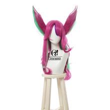 ROLECOS Игра LOL Xayah Косплей волосы уши LOL звезда стражи Xayah Косплей длинный головной убор смешанный розовый зеленый Женский Синтетический волос(Китай)