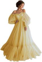 Платье для выпускного бала LORIE, синее платье принцессы с длинным рукавом и открытыми плечами, 2020, платье из тюля на шнурках, Формальное вечер...(Китай)