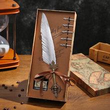 Новый стиль окунутая перо ручка Подарочная коробка ретро гусиное перо каллиграфия подарочный набор ручек товары для рукоделия чернильная ...(Китай)