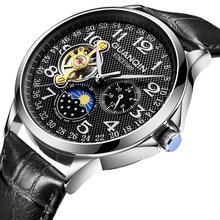 GUANQIN спортивные автоматические часы, мужские роскошные часы, мужские часы с скелетом, турбийон, водонепроницаемые механические часы, relogio ...(Китай)