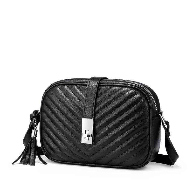Женская сумка через плечо Realer, маленькая черная квадратная сумка из искусственной кожи с кисточками в полоску, 2020(Китай)