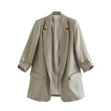 [DEAT] Женский однотонный блейзер с карманами для отдыха, новая куртка свободного кроя с отворотом и длинным рукавом, весна-осень 2020 13T820(Китай)