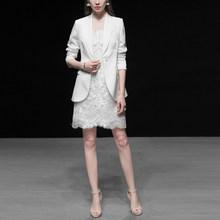 Женский модельный костюм, роскошный элегантный пиджак высокого качества, топ + кружевное платье, офисный деловой костюм из 2 предметов для р...(Китай)