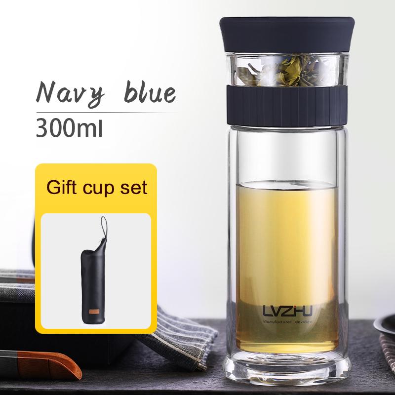 400 мл портативная стеклянная бутылка с двойными стенками для заварки чая и воды с крышкой-фильтром мои бутылки для воды, автомобильная чашка...(Китай)