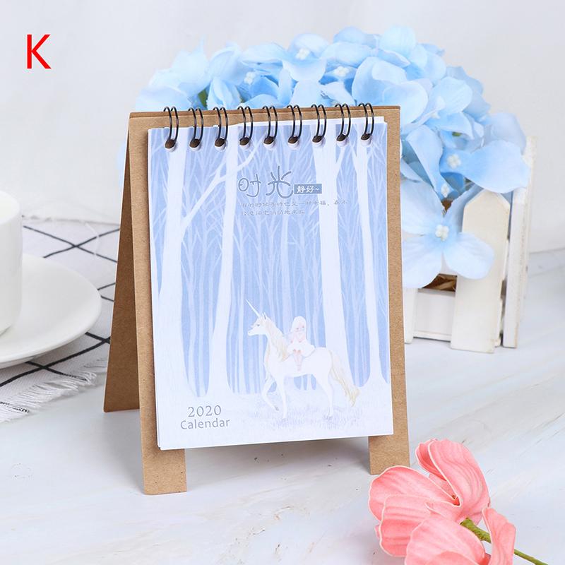 Настольный планировщик, годовой органайзер, ручной рисунок, 2020, свежий мультяшный мини фламинго, настольный бумажный календарь, двойной еже...(Китай)